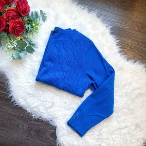 TALBOTS ROYAL BLUE CABLE KNIT CREWNECK SWEATER